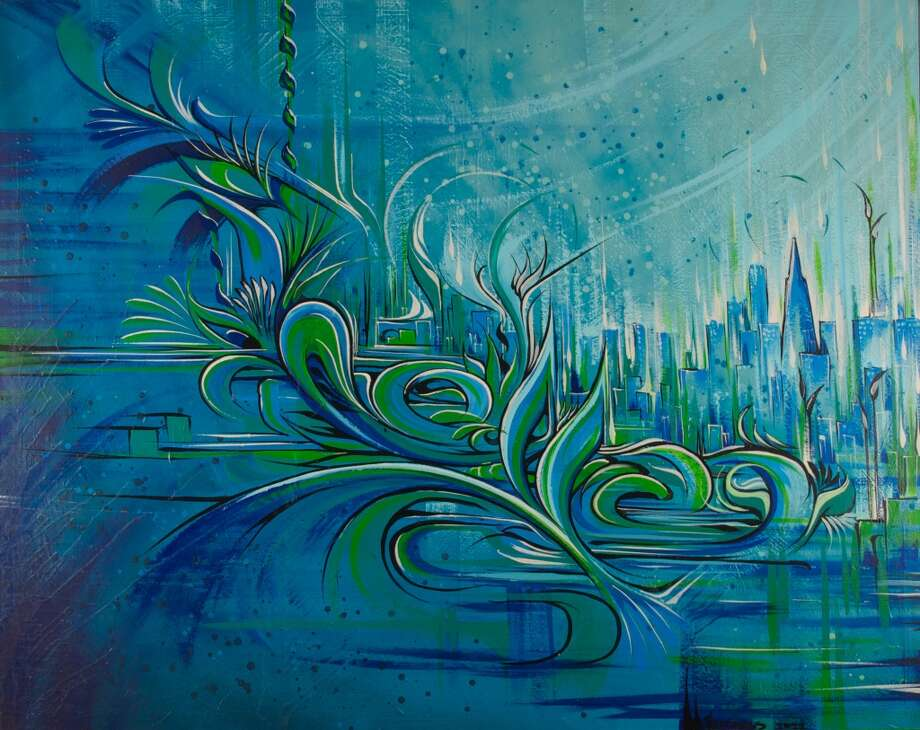 """Ethereal Tide"" (2011) by Ian Ross. Mural in Microdesk's financial district headquarters."