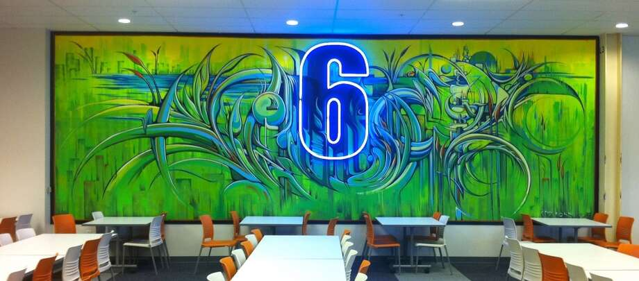 """Hack Mural"" (2011) by Ian Ross. On the wall of Cafe 6 in Facebook's Menlo Park campus."