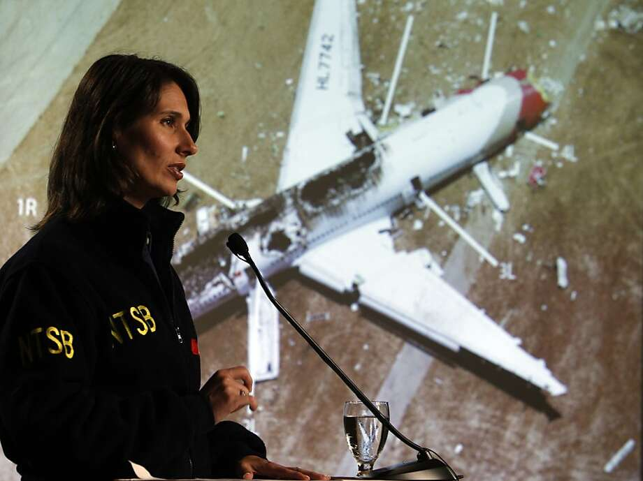 Chairman of the National Transportation Safety Board, Deborah Hersman addressed the press to give more details of the NTSB's investigation in the crash of Asiana Airlines Flight 214 in South San Francisco, Calif., on Wednesday, July 10, 2013. Photo: Carlos Avila Gonzalez, The Chronicle