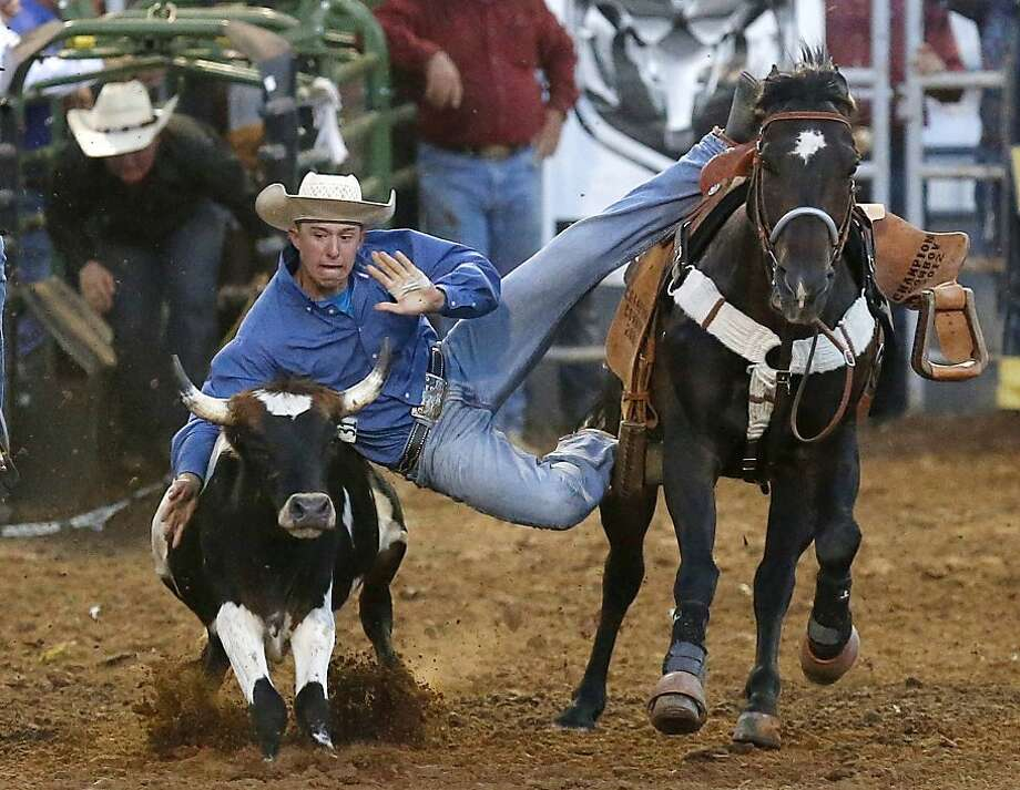 David Crawford, of Kiowa, Colo., jumps off his horse to capture a steer in the steer wrestling competition in the International Finals Youth Rodeo in Shawnee, Okla., Wednesday, July 10, 2013. (AP Photo/Sue Ogrocki) Photo: Sue Ogrocki, Associated Press