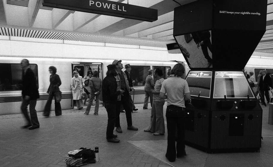 Dec. 7, 1976: The BART games included Pong, Le Mans and Tank, with space for pro-BART slogans. ('BART keeps your nightlife moving!') This idea would thrive in 2013. Hipsters + Pong = $$$.