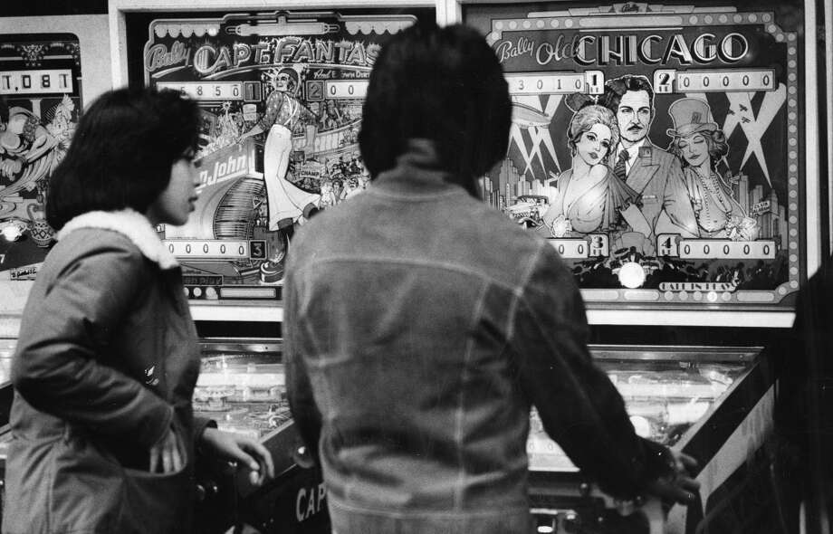 Jan. 28, 1977: Pinball fans play Chicago and Captain Fantastic in San Francisco. Both of these games, plus your favorite (Black Knight!) are likely available at the Pacific Pinball Museum.