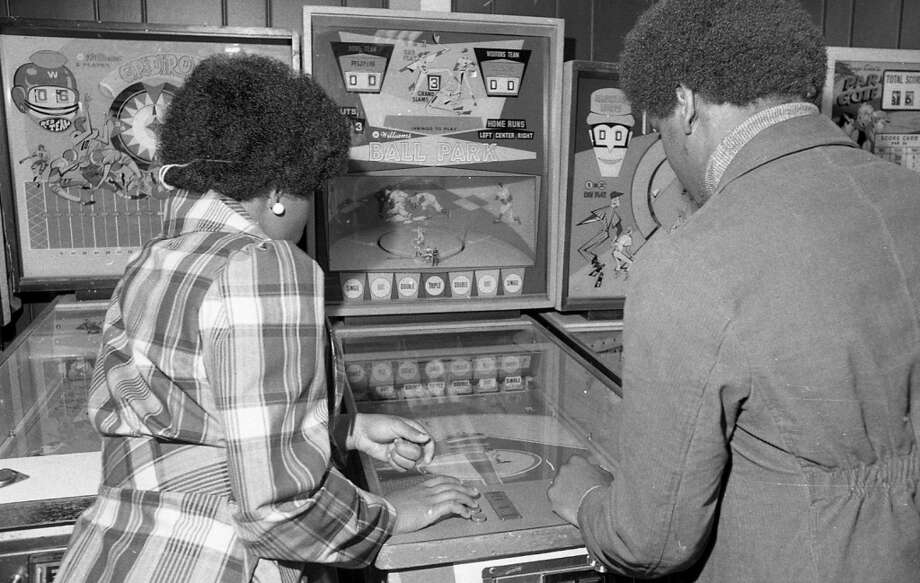 March 20 1974: An old baseball game at The Fun Center on Market Street in San Francisco.