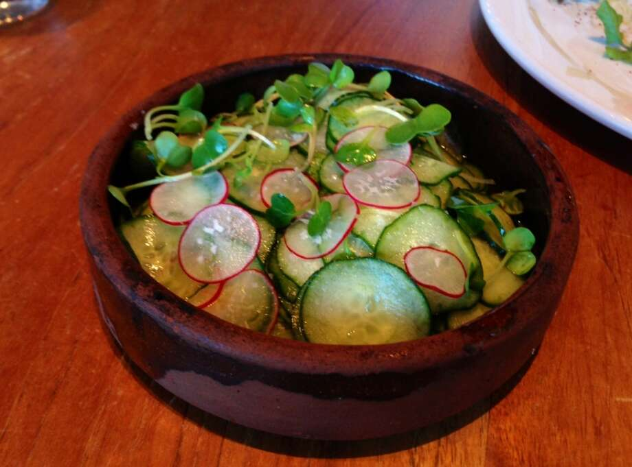 Cucumber and radishes ($7)  in a ginger vinaigrette