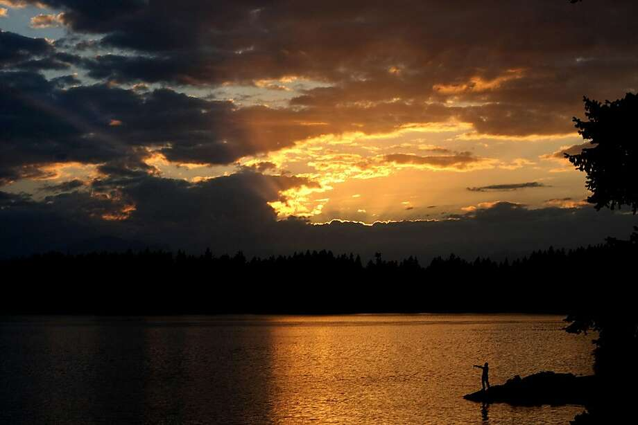 A fisherman casts off at the S. Pat Carey Vista in East Bremerton, Wash. Photo: Larry Steagall, Associated Press