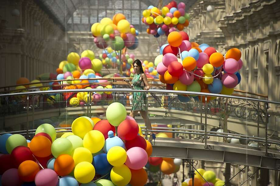Balloon bridge: GUM, one of the oldest department stores in Moscow, must be having a party. Photo: Natalia Kolesnikova, AFP/Getty Images