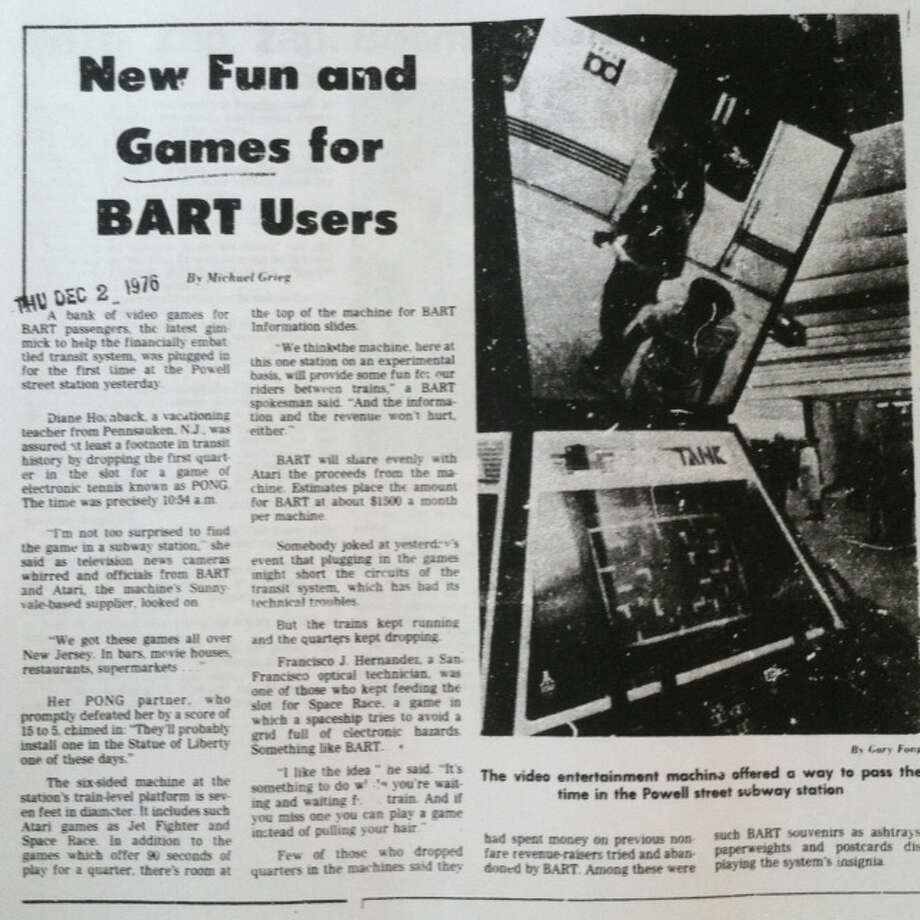 The Chronicle article about the early BART/Atari partnership. I'll upload a larger easy-to-read version of this on the Facebook fan page for The Big Event.