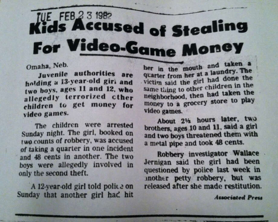 The media ran stories like this all the time. There were much larger crimes, but the focus was on a petty theft in Nebraska that gave the impression of rampant arcade-related crime.
