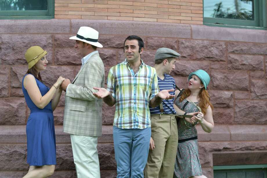 "The new Valley Shakespeare Festival in Shelton is being launched with a production of ""The Comedy of Errors"" directed by Tom Simonetti (center) that will be performed in Veterans Memorial Park Thursday, July 18 to Saturday, July 20. The cast includes (left to right) Jessica Breda, Jeremy Funke, Steve Mazzoccone, and Megan McGarvey. Photo: Contributed Photo"