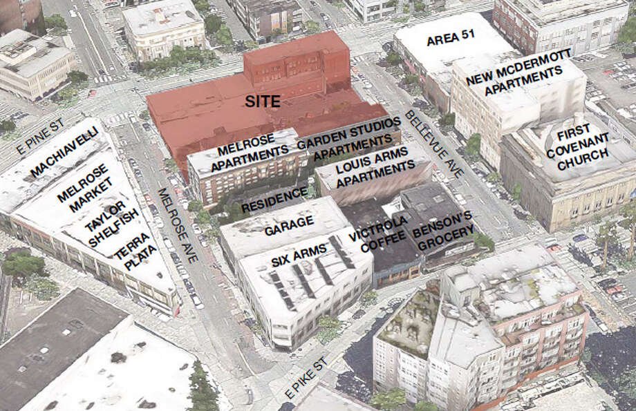 The project site takes up half a block and is surrounded by apartments, old buildings and thriving businesses.