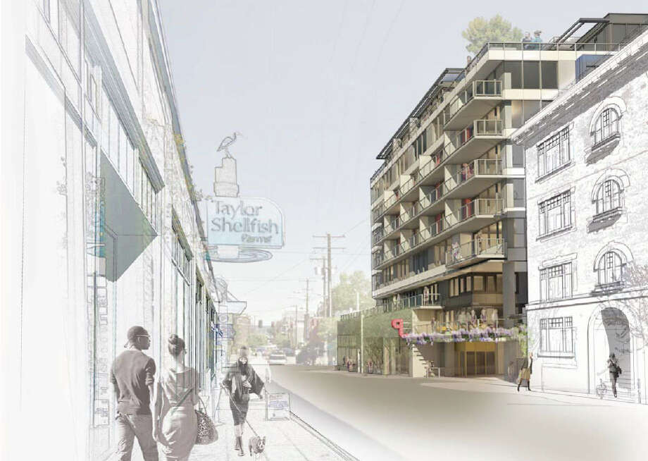 The Pedestrian view along Melrose Avenue of the proposed 301 E. Pine St. project is shown in this artist's depiction.