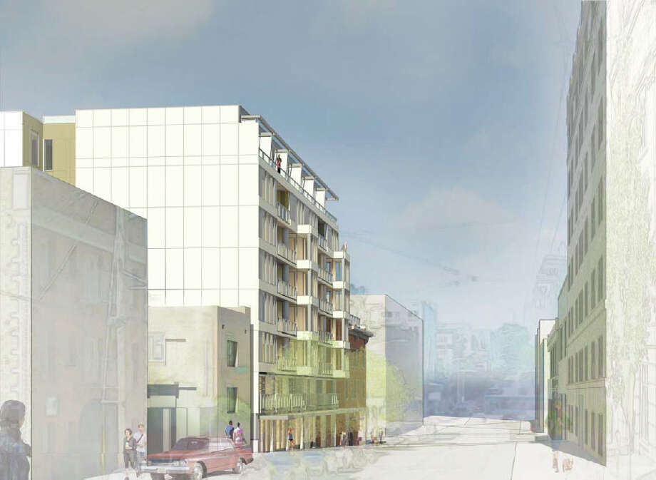 The Pedestrian view along Bellevue Avenue, looking north, of the proposed 301 E. Pine St. project is shown in this artist's depiction.
