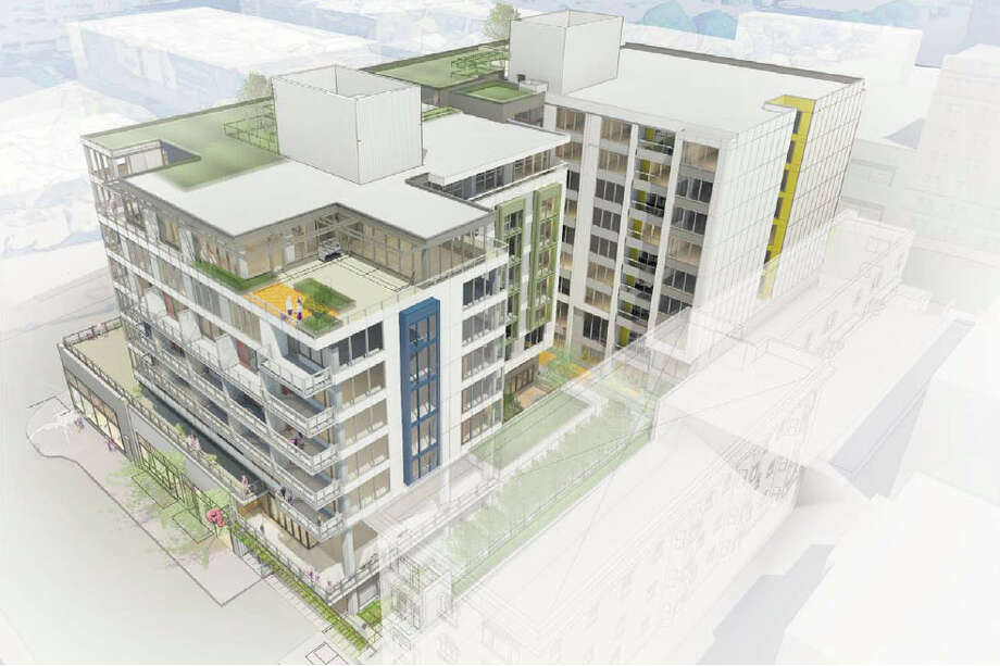 The pedestrian view of the upper terraces of the proposed 301 E. Pine St. project is shown in this artist's depiction.
