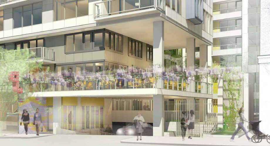 The Melrose Avenue residential entrance of the proposed 301 E. Pine St. project is shown in this artist's depiction.