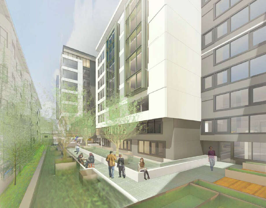The pedestrian view of the residential terrace of the proposed 301 E. Pine St. project is shown in this artist's depiction.