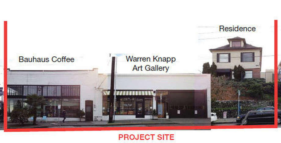 What's on the other side of the project site? Behind Bauhaus coffee is the Warren Knapp Art Gallery on Melrose Ave., which would be retained. But the house next door would be demolished.