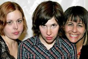 LOS FELIZ, CA - SEPTEMBER 5: (L-R) Musicians Corin Tucker, Carrie Brownstein and Janet Weiss of the band Sleater-Kinney attend ArthurFest on September 5, 2005 in Los Feliz, California. This is Arthur Magazine's first attempt at a music festival.