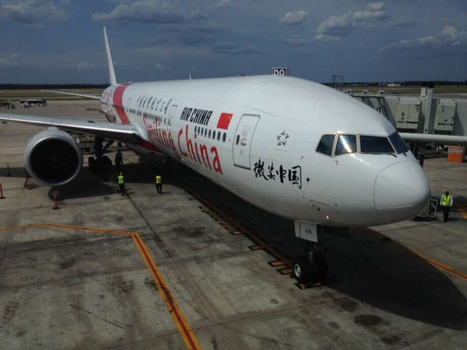 The first nonstop flight from Beijing with more than 300 passengers landed in Houston Thursday afternoon.