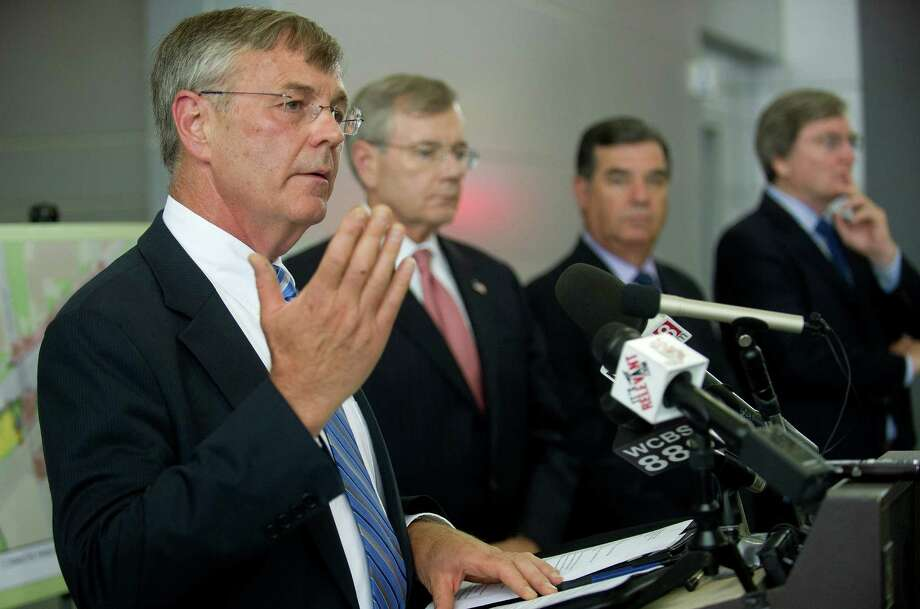James Redeker, Commissioner of the Connecticut Department of Transportation, speaks during a press conference to announce the winning bidder for the station's redevelopment. Photo: Lindsay Perry / Stamford Advocate