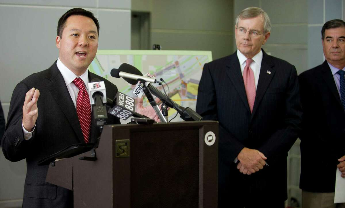 State Representative William Tong speaks during a press conference at the Stamford train station during which the Connecticut Department of Transportation announced the winning bidder for the station's redevelopment.