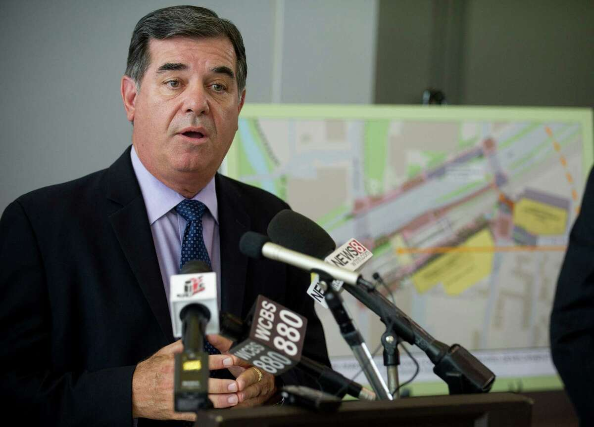 Stamford Mayor Michael Pavia speaks during a press conference at the Stamford train station during which the Connecticut Department of Transportation announced the winning bidder for the station's redevelopment.