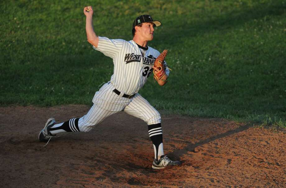 Danbury pitcher Zachary Tax pitches during the Saratoga Brigade's 2-0 win over the Danbury Westerners in the NECBL baseball game at Rogers Park in Danbury, Conn. on Friday, July 5, 2013. Photo: Tyler Sizemore / The News-Times