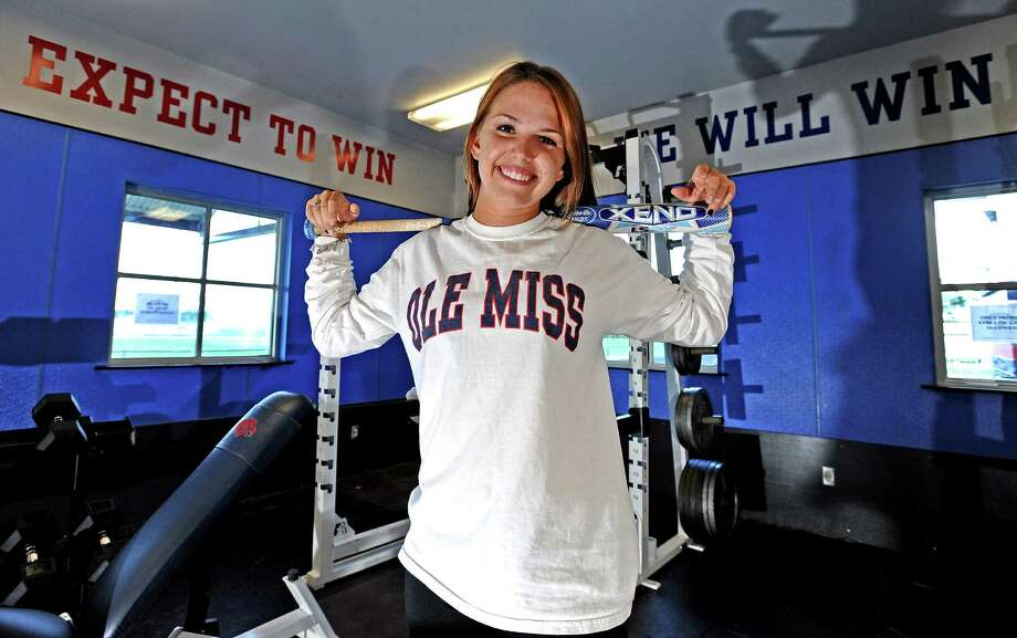 Hardin-Jefferson athlete Kaitlin McFarland is heading into her junior year and has already committed to Ole Miss to play softball.  In addition to softball McFarland plays volleyball, competes in power-lifting, and track and field events. Photo taken: Randy Edwards/The Enterprised