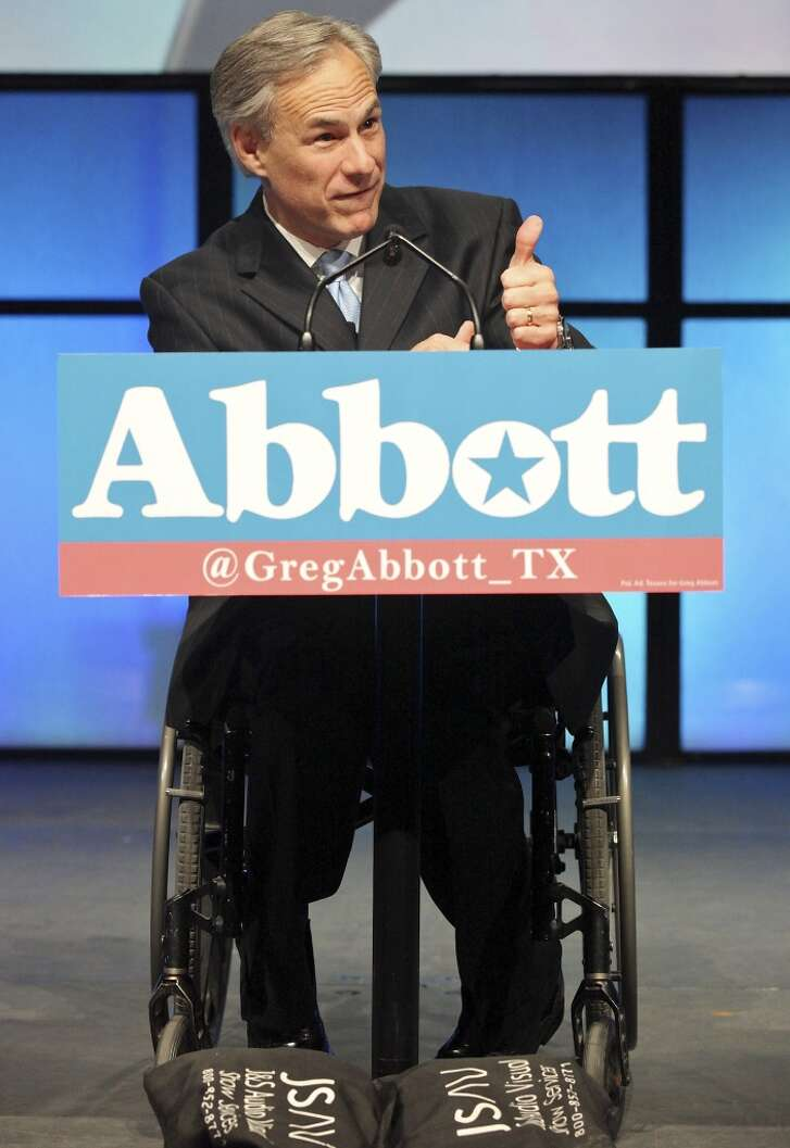 Texas Attorney General Greg Abbott gives a thumbs up as he speaks during the 2012 Texas GOP Convention held at the Fort Worth Convention Center June 7, 2012 in Fort Worth, Texas.