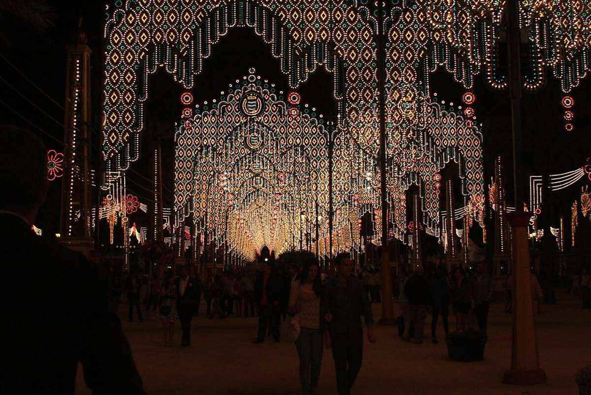 Lights overhead on the first night of the Feria de Jerez, the city of Jerez's annual festival held each spring.