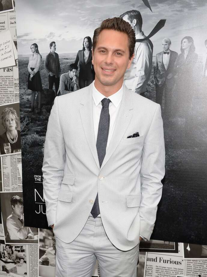 "Actor Thomas Sadoski attends the premiere of HBO's ""The Newsroom"" Season 2 at Paramount Theater on the Paramount Studios lot on July 10, 2013 in Hollywood, California.  (Photo by Jason Kempin/Getty Images)"