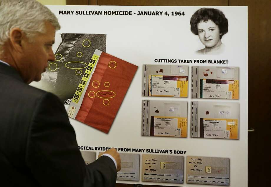 Suffolk County District Attorney Daniel Conley shows a chart with a likeness of 1964 strangling victim Mary Sullivan. Photo: Steven Senne, Associated Press