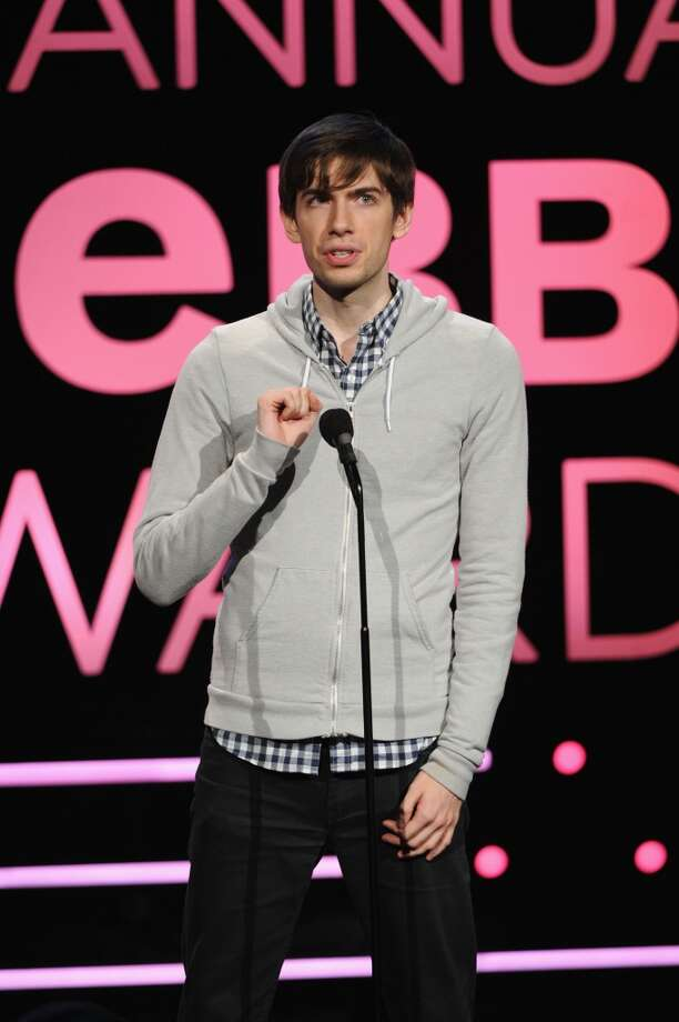 David Karp wears a sweater with a peekaboo collar as he speaks onstage at the 17th Annual Webby Awards at Cipriani Wall Street on May 21, 2013 in New York City.