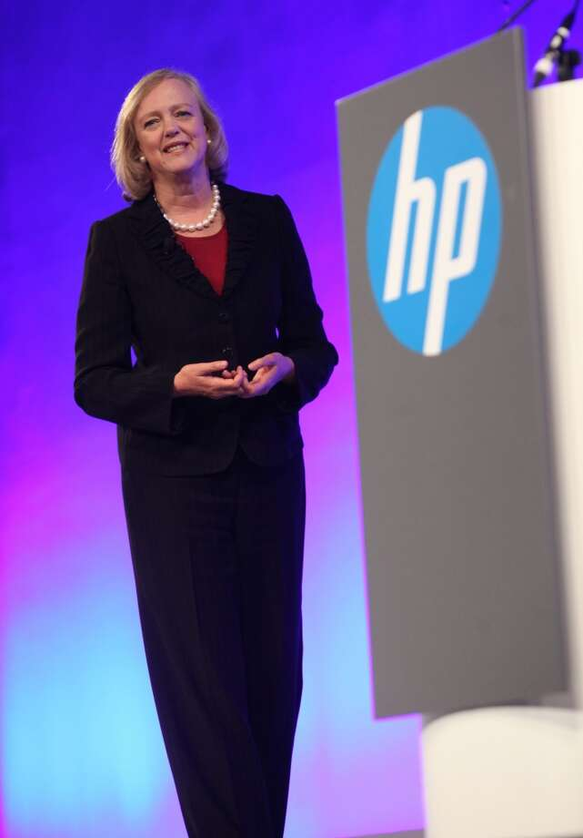 "Meg Whitman, President and Chief Executive Officer of Hewlett-Packard, opts for the power pantsuit as she speaks during ""HP World Tour"" at Kerry Centre on June 25, 2013 in Beijing, China."