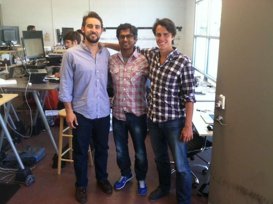 Ricardo Batista, Sunil Daluvoy and Alexander Reichert of Euclid, smiling and checkered.