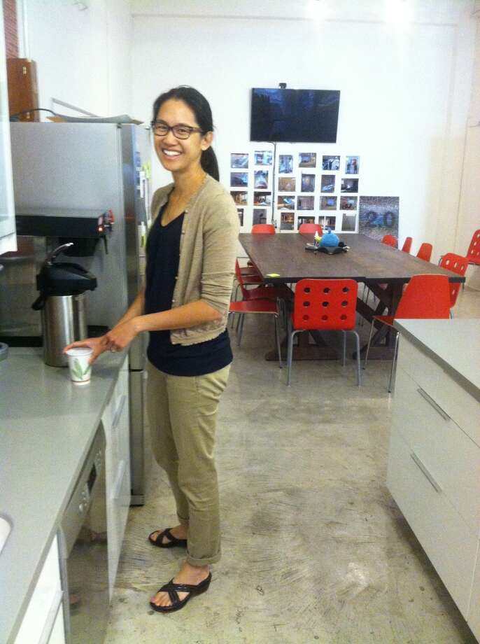 Yvonne Chou and her morning coffee at Flipboard.