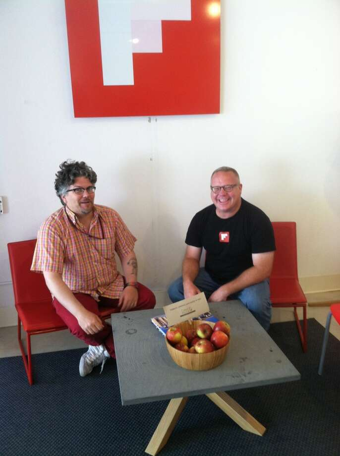 Terrance Kivran-Zwaine and Will Giese chat over apples at Flipboard.