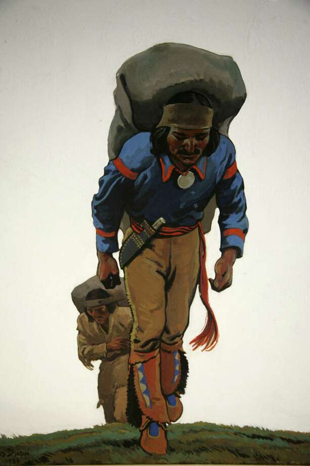 """Two Packers,"" a gouache painting from 1936 by Maynard Dixon showing two American Indians traveling on foot, will be on display at the Briscoe Western Art Museum. Photo: Briscoe Western Art Museum"