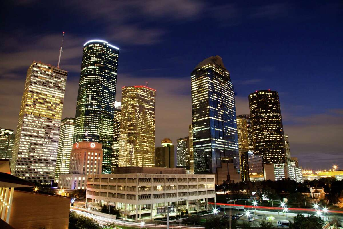 Downtown Houston projects a majestic view at night.Downtown Houston projects a majestic view at night.