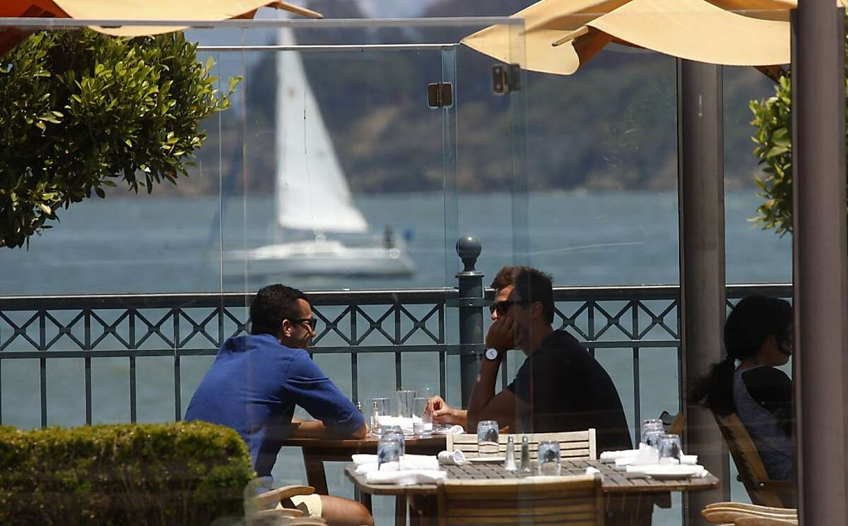 The outside dining area of Waterfront restaurant in San Francisco on the Embarcadero.