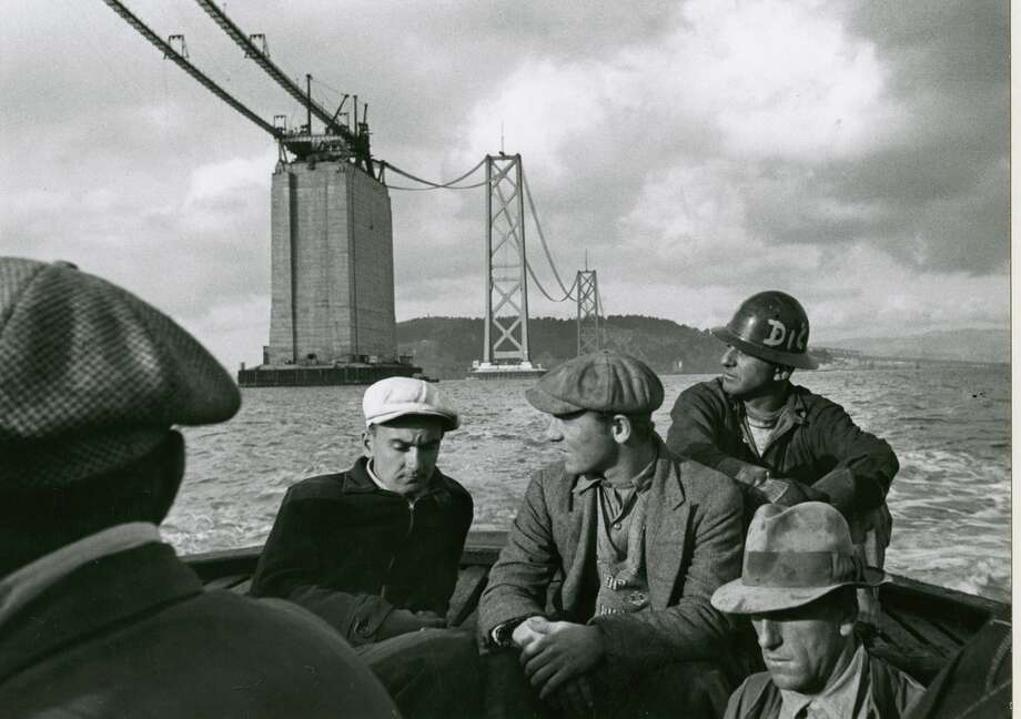 Men sail home at the end of a day of construction work on the original Bay Bridge in 1935. Photo: Peter Stackpole / OMCA / © Oakland Museum of California, All Rights Reserved