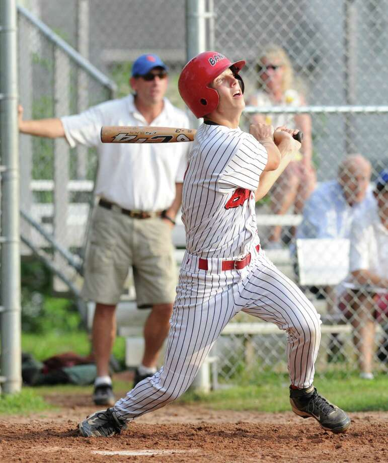 BANC player Matt Condon doubles against Rink & Racquet during Senior Babe Ruth baseball at Havemeyer Field in Greenwich, Thursday, July 11, 2013. Photo: Bob Luckey / Greenwich Time