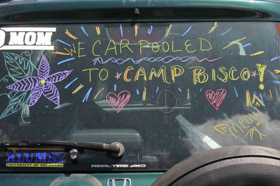 A sign a car in the camp area during Camp Bisco on Thursday afternoon, July 11, 2013, in Mariaville, N.Y. (Michael P. Farrell/Times Union) Photo: Michael P. Farrell / 00023098A