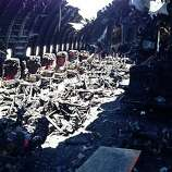 The charred cabin interior of Asiana Airlines Flight 214 in a photo released by the National Transportation Safety Board on July 11, 2013.