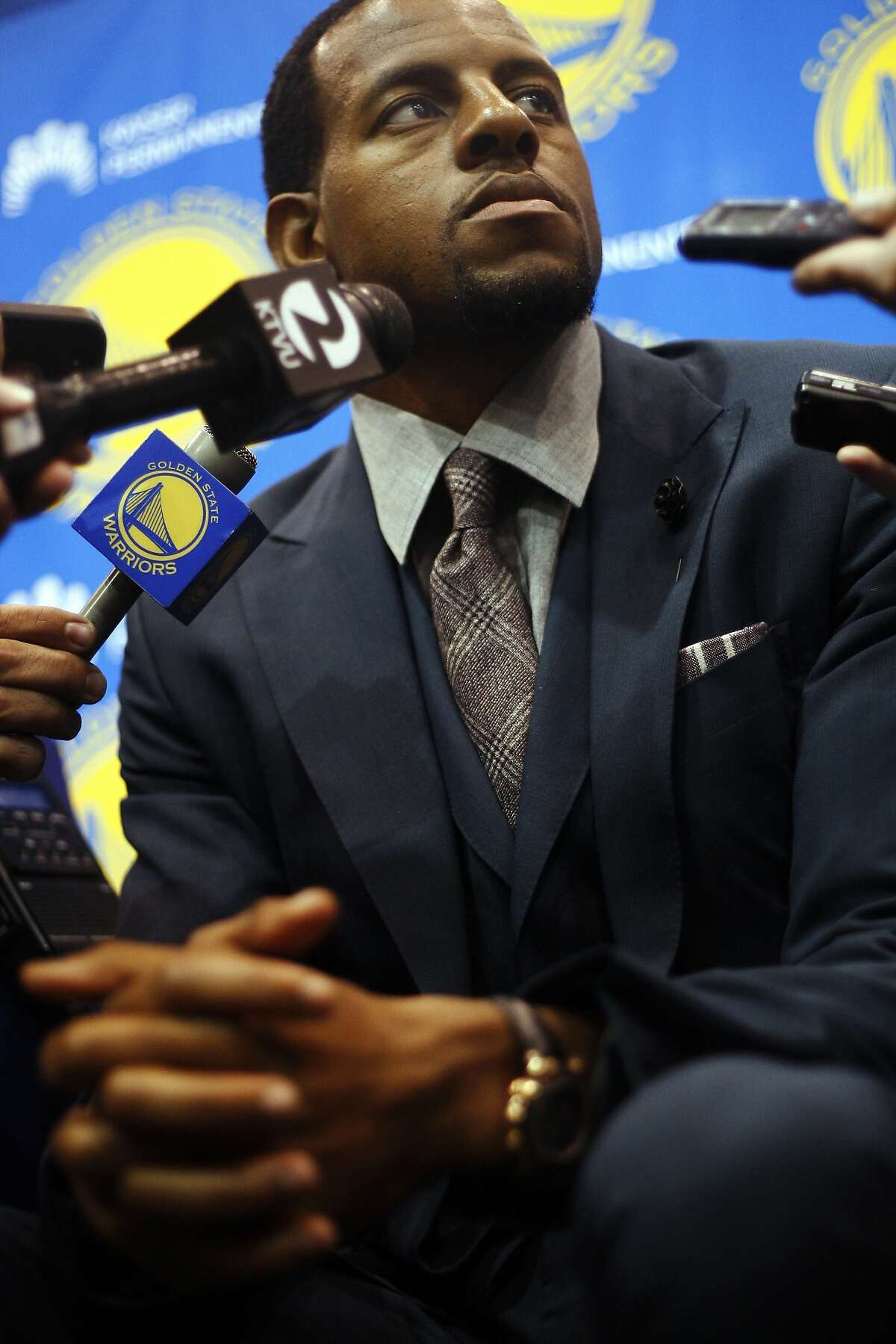 Golden State Warriors latest big acquisition, Andre Igoubdala, takes questions from the media at a press conference at Warriors headquarters On Thursday, July 11, 2013 in Oakland, Calif. Igoubdala was a brilliant addition to a Warriors team that was defeated in the Western Conference Finals by The San Antonio Spurs in this years NBA playoffs.
