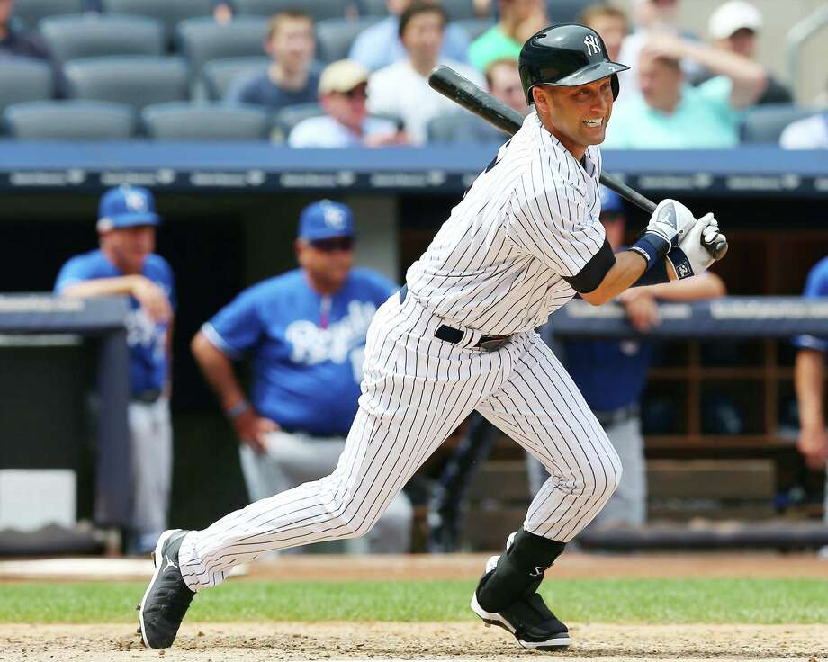 NEW YORK, NY - JULY 11:  Derek Jeter #2 of the New York Yankees runs out his hit in the fifth inning against the Kansas City Royals on July11,2013 at Yankee Stadium in the Bronx borough of New York City.  (Photo by Elsa/Getty Images) ORG XMIT: 163494519 Photo: Elsa / 2013 Getty Images
