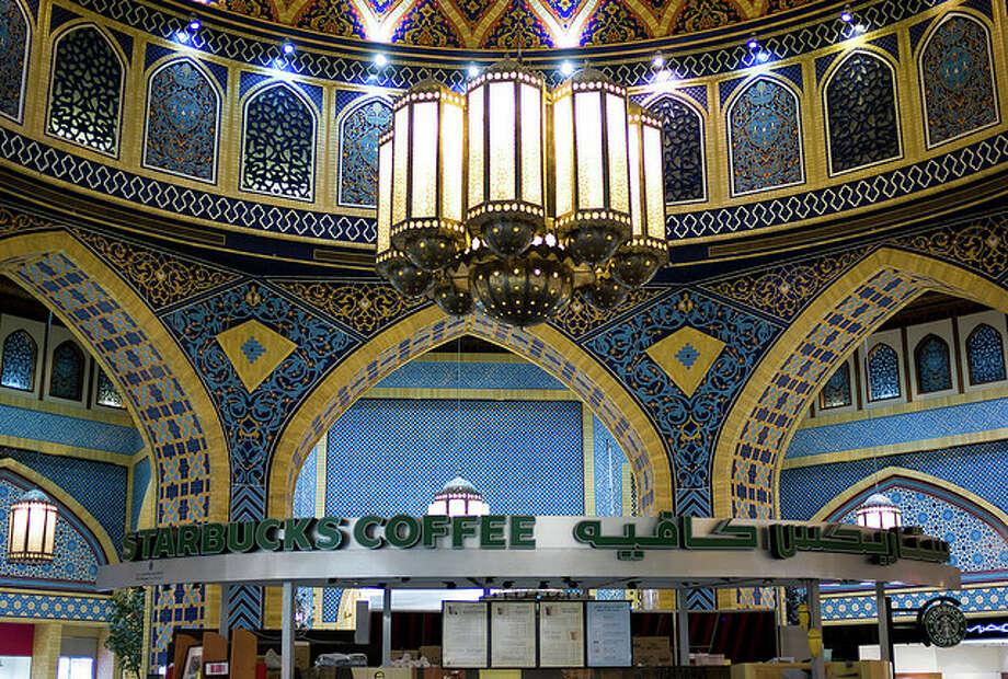 Here's our vote for prettiest Starbucks setting: Inside the Ibn Battuta Mall, in Dubai. Photo: Joi Ito, Creative Commons Flickr