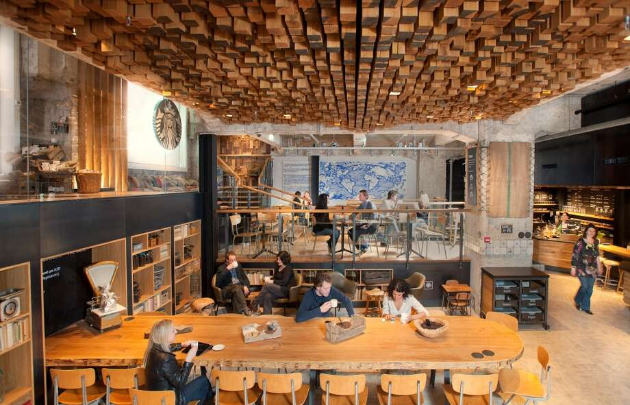Best Starbucks to drink coffee while looking up:In Amsterdam, where this store features a beautiful, wood-block ceiling. It opened in 2012. Photo: Photo Courtesy Starbucks