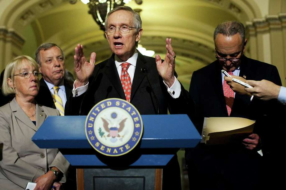 Sen. Harry Reid, D-Nev., cites GOP obstruction as a reason to pursue the abolition of the filibuster. Photo: Christopher Gregory / New York Times