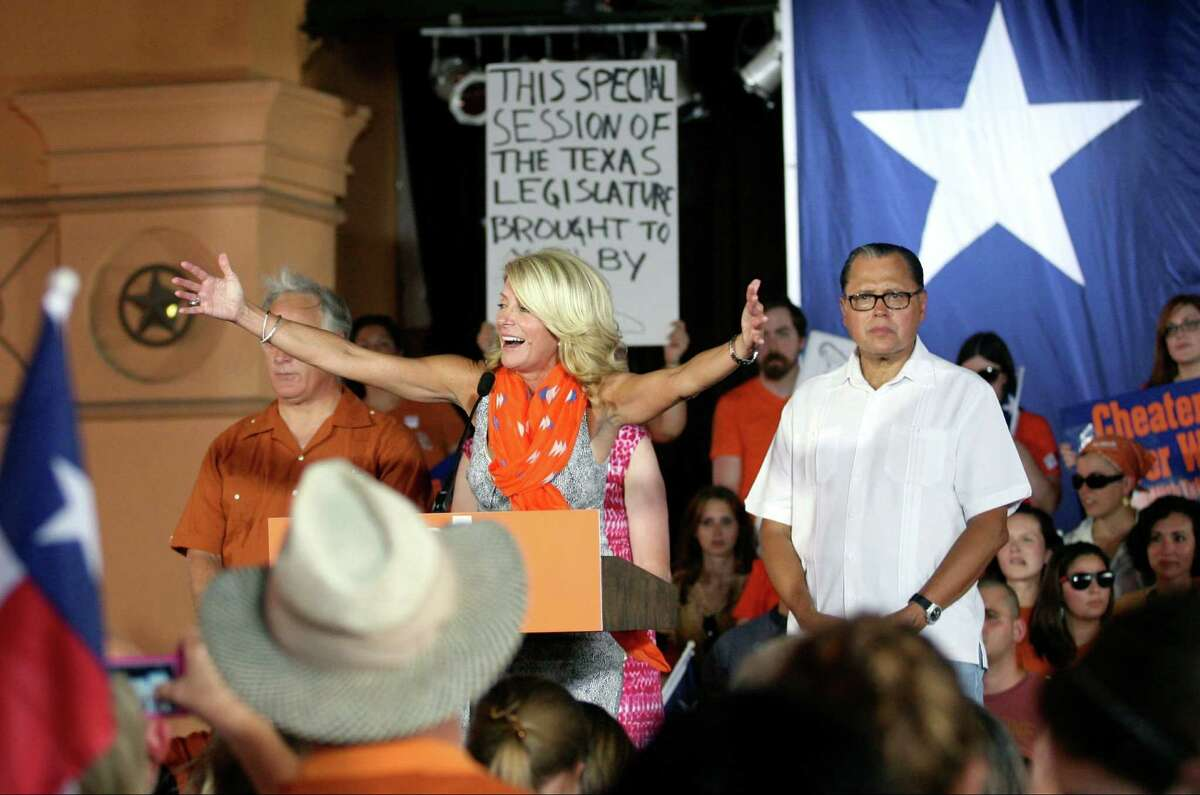 Fort Worth Sen. Wendy Davis addresses the crowd attending the Stand with Women bus tour rally at Sunset Station.