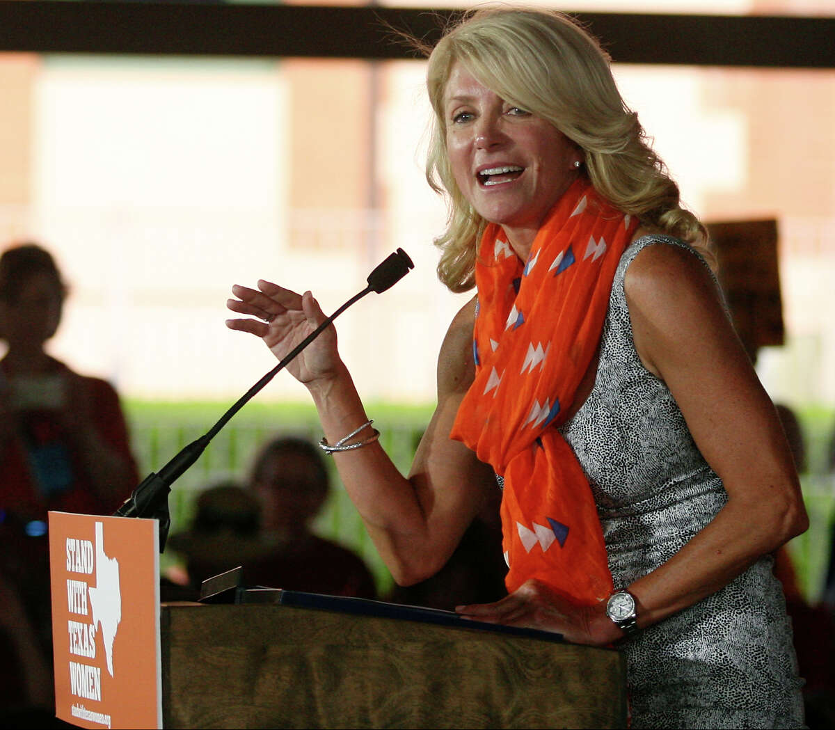 Fort Worth Sen. Wendy Davis addresses the crowd July 11, 2013 attending Planned Parenthood Action Fund's Stand with Women bus tour rally at Sunset Station in San Antonio after kicking off on Tuesday in Austin. The rally, which brought out several hundred people had several speakers, including San Antonio mayor Julian Castro.